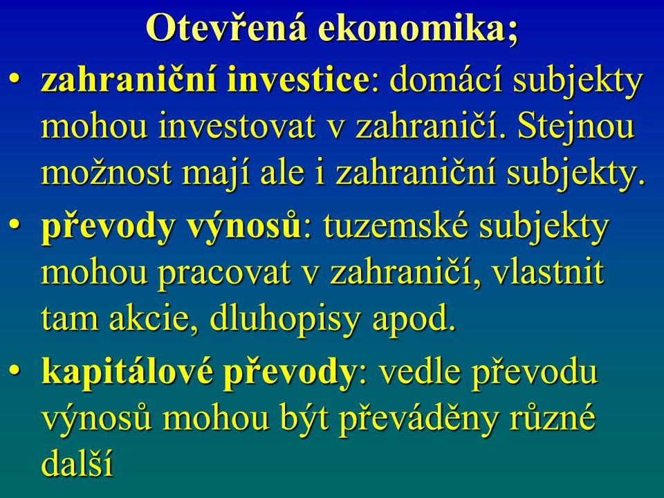 Otevřená ekonomika; zahraniční investice: domácí subjekty mohou investovat v zahraničí. Stejnou možnost mají ale i zahraniční subjekty. zahraniční inv