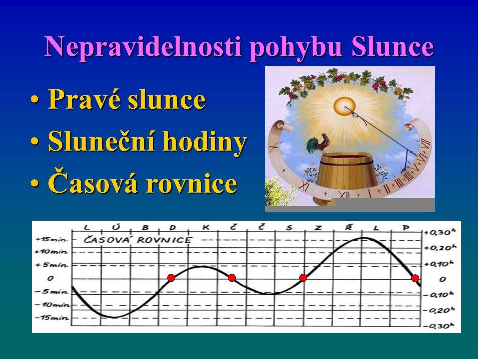 Nepravidelnosti pohybu Slunce Pravé slunce Pravé slunce Sluneční hodiny Sluneční hodiny Časová rovnice Časová rovnice