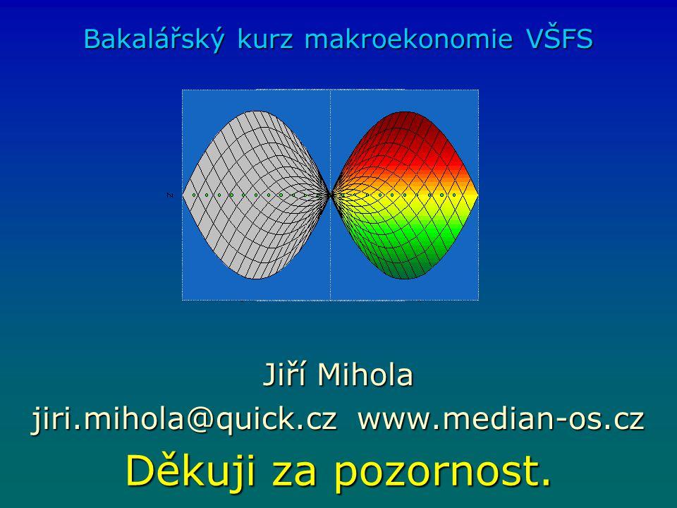 Děkuji za pozornost. Bakalářský kurz makroekonomie VŠFS Jiří Mihola jiri.mihola@quick.cz www.median-os.cz