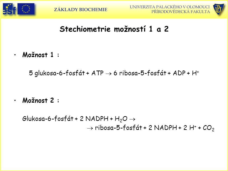 Stechiometrie možností 1 a 2 Možnost 1 : 5 glukosa-6-fosfát + ATP  6 ribosa-5-fosfát + ADP + H + Možnost 2 : Glukosa-6-fosfát + 2 NADPH + H 2 O   r