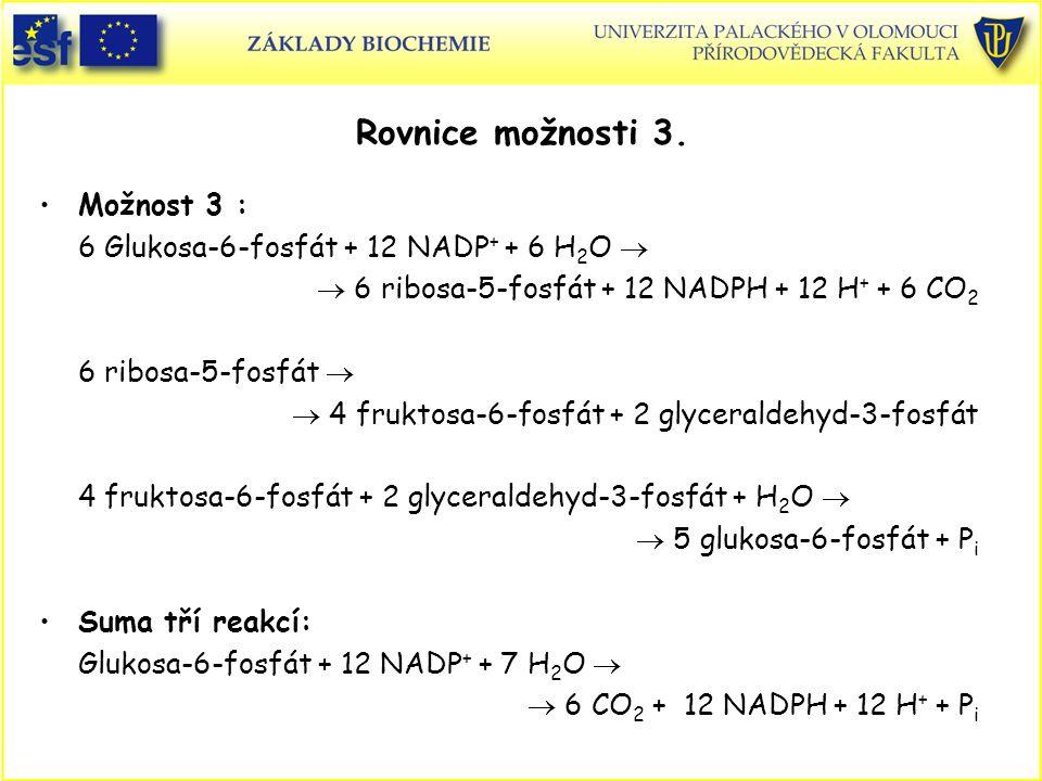 Rovnice možnosti 3. Možnost 3 : 6 Glukosa-6-fosfát + 12 NADP + + 6 H 2 O   6 ribosa-5-fosfát + 12 NADPH + 12 H + + 6 CO 2 6 ribosa-5-fosfát   4 fr