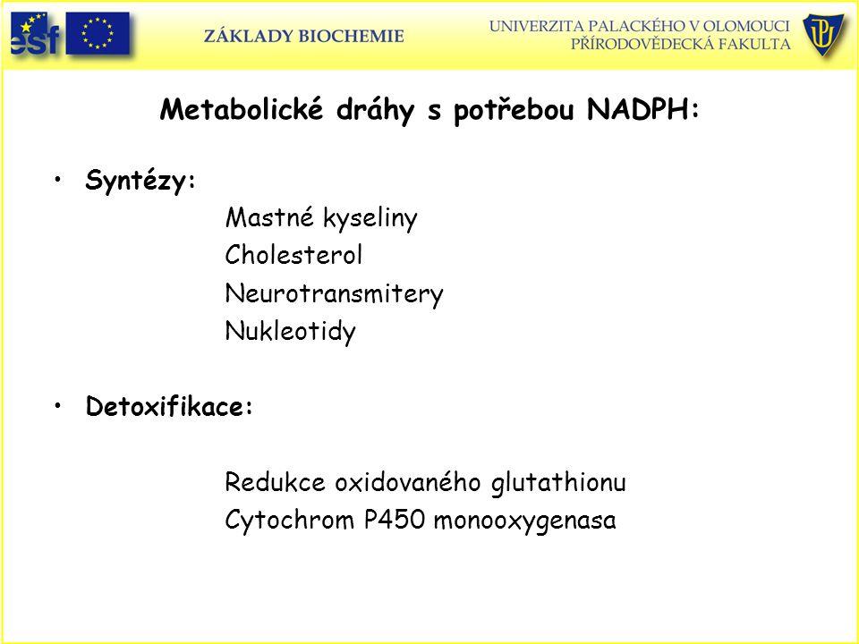 Metabolické dráhy s potřebou NADPH: Syntézy: Mastné kyseliny Cholesterol Neurotransmitery Nukleotidy Detoxifikace: Redukce oxidovaného glutathionu Cyt