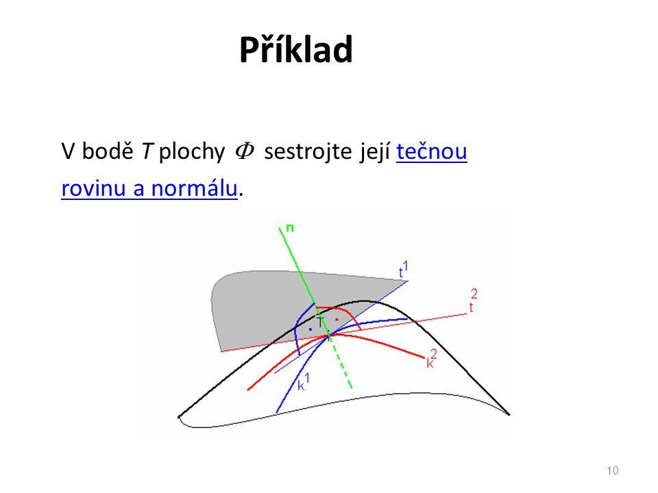 Příklad V bodě T plochy  sestrojte její tečnoutečnou rovinu a normálurovinu a normálu. 10