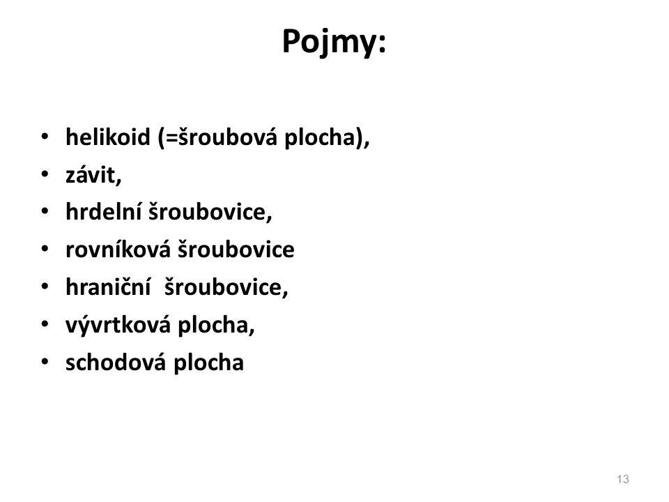 Pojmy: helikoid (=šroubová plocha), závit, hrdelní šroubovice, rovníková šroubovice hraniční šroubovice, vývrtková plocha, schodová plocha 13