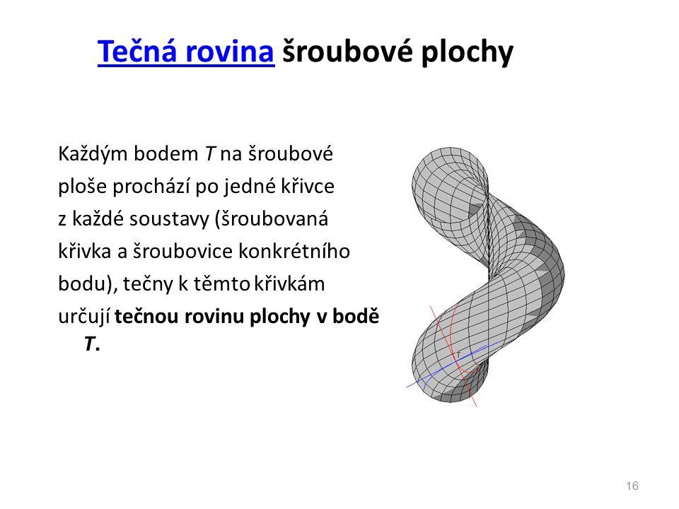 Tečná rovinaTečná rovina šroubové plochy Každým bodem T na šroubové ploše prochází po jedné křivce z každé soustavy (šroubovaná křivka a šroubovice ko