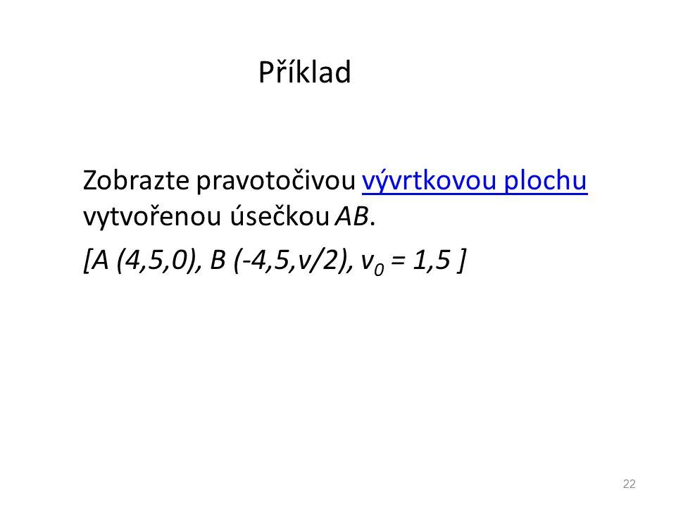 Příklad Zobrazte pravotočivou vývrtkovou plochu vytvořenou úsečkou AB.vývrtkovou plochu [A (4,5,0), B (-4,5,v/2), v 0 = 1,5 ] 22