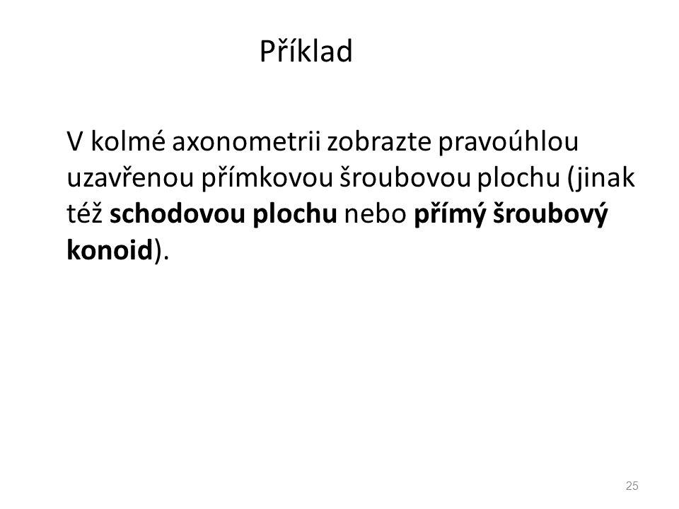 Příklad V kolmé axonometrii zobrazte pravoúhlou uzavřenou přímkovou šroubovou plochu (jinak též schodovou plochu nebo přímý šroubový konoid). 25