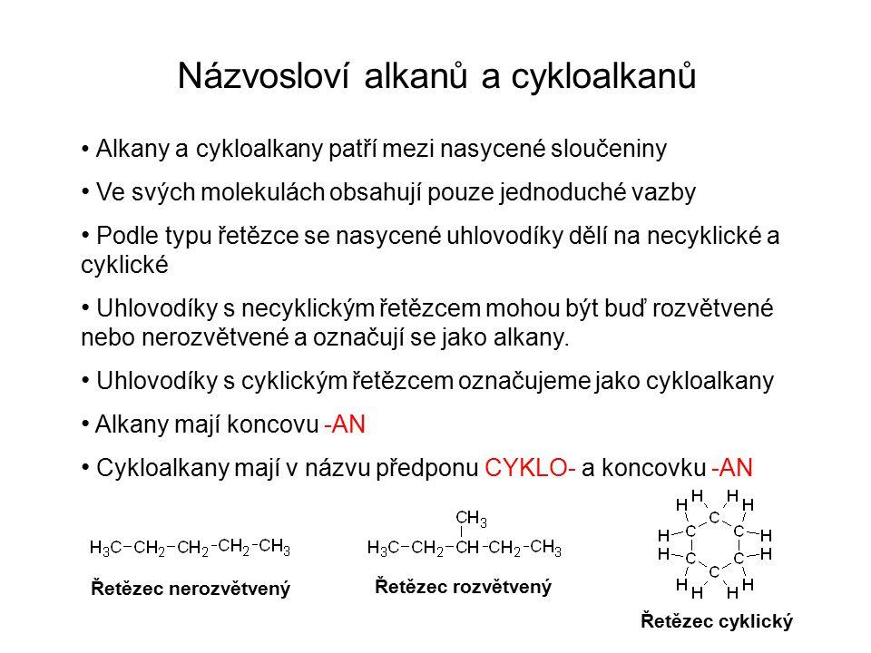 Názvosloví alkanů a cykloalkanů Alkany a cykloalkany patří mezi nasycené sloučeniny Ve svých molekulách obsahují pouze jednoduché vazby Podle typu řet