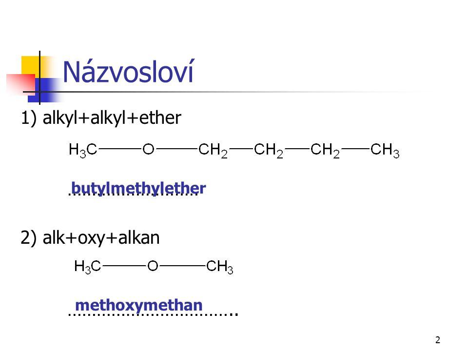 2 Názvosloví 1) alkyl+alkyl+ether ……………………… 2) alk+oxy+alkan …………………………….. butylmethylether methoxymethan