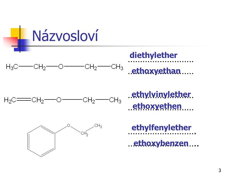 3 Názvosloví ……………………… ………………………. ……………………….. diethylether ethoxyethan ethylvinylether ethoxyethen ethylfenylether ethoxybenzen