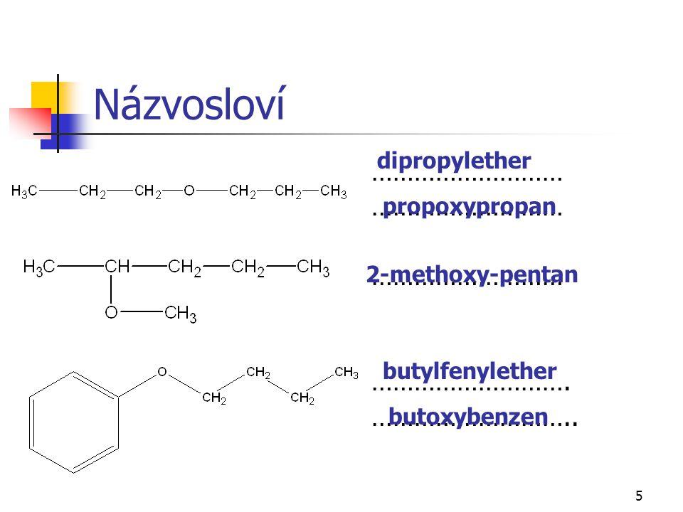 5 Názvosloví ……………………… ………………………. ……………………….. dipropylether propoxypropan 2-methoxy-pentan butylfenylether butoxybenzen