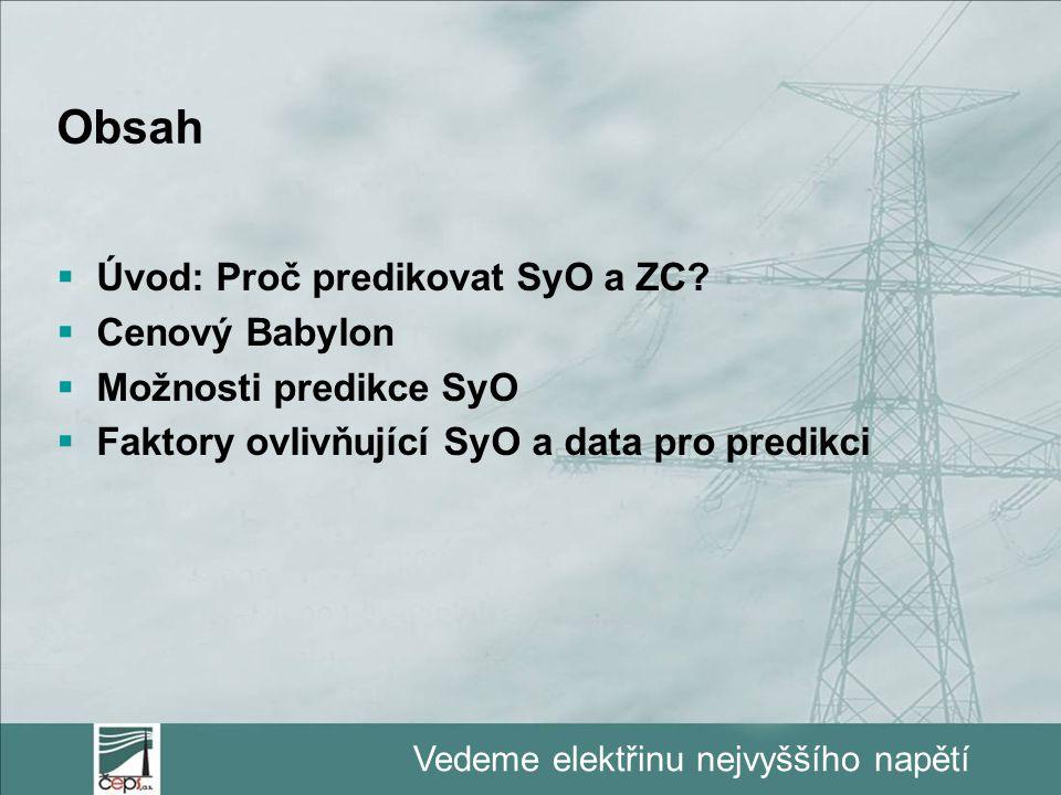 Vedeme elektřinu nejvyššího napětí Obsah  Úvod: Proč predikovat SyO a ZC?  Cenový Babylon  Možnosti predikce SyO  Faktory ovlivňující SyO a data p