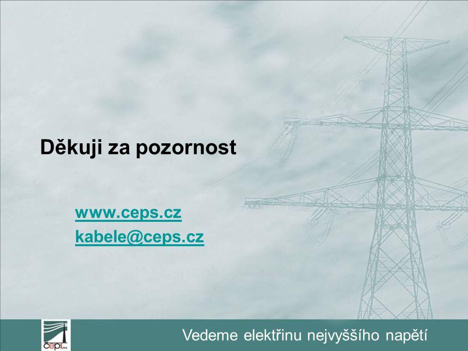 Vedeme elektřinu nejvyššího napětí Děkuji za pozornost www.ceps.cz kabele@ceps.cz
