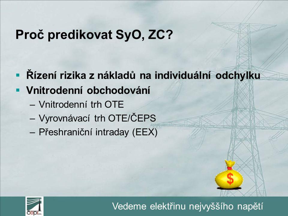 Vedeme elektřinu nejvyššího napětí Proč predikovat SyO, ZC?  Řízení rizika z nákladů na individuální odchylku  Vnitrodenní obchodování –Vnitrodenní