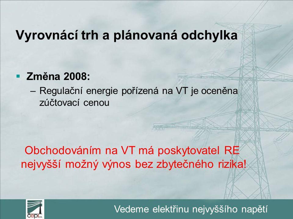 Vedeme elektřinu nejvyššího napětí Vyrovnácí trh a plánovaná odchylka  Změna 2008: –Regulační energie pořízená na VT je oceněna zúčtovací cenou Obcho