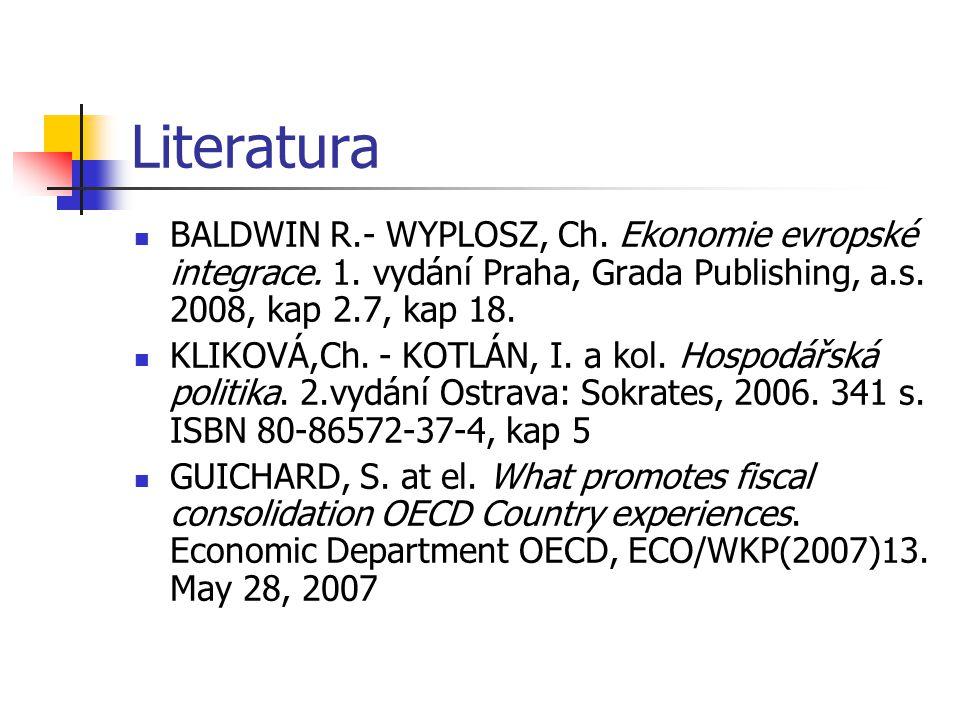 Literatura BALDWIN R.- WYPLOSZ, Ch. Ekonomie evropské integrace. 1. vydání Praha, Grada Publishing, a.s. 2008, kap 2.7, kap 18. KLIKOVÁ,Ch. - KOTLÁN,