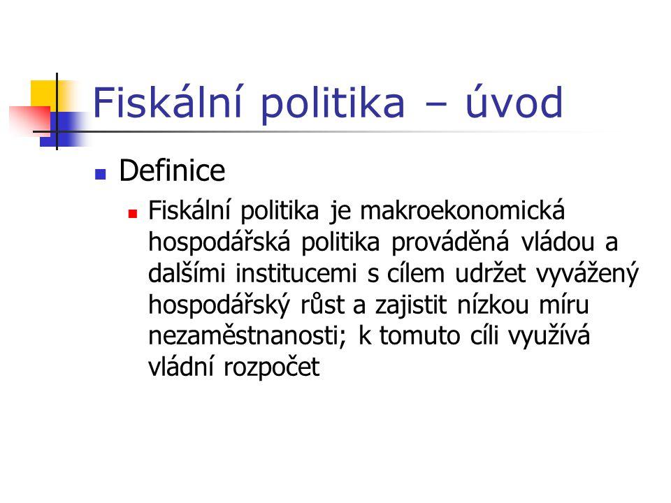 Fiskální politika – úvod Definice Fiskální politika je makroekonomická hospodářská politika prováděná vládou a dalšími institucemi s cílem udržet vyvážený hospodářský růst a zajistit nízkou míru nezaměstnanosti; k tomuto cíli využívá vládní rozpočet
