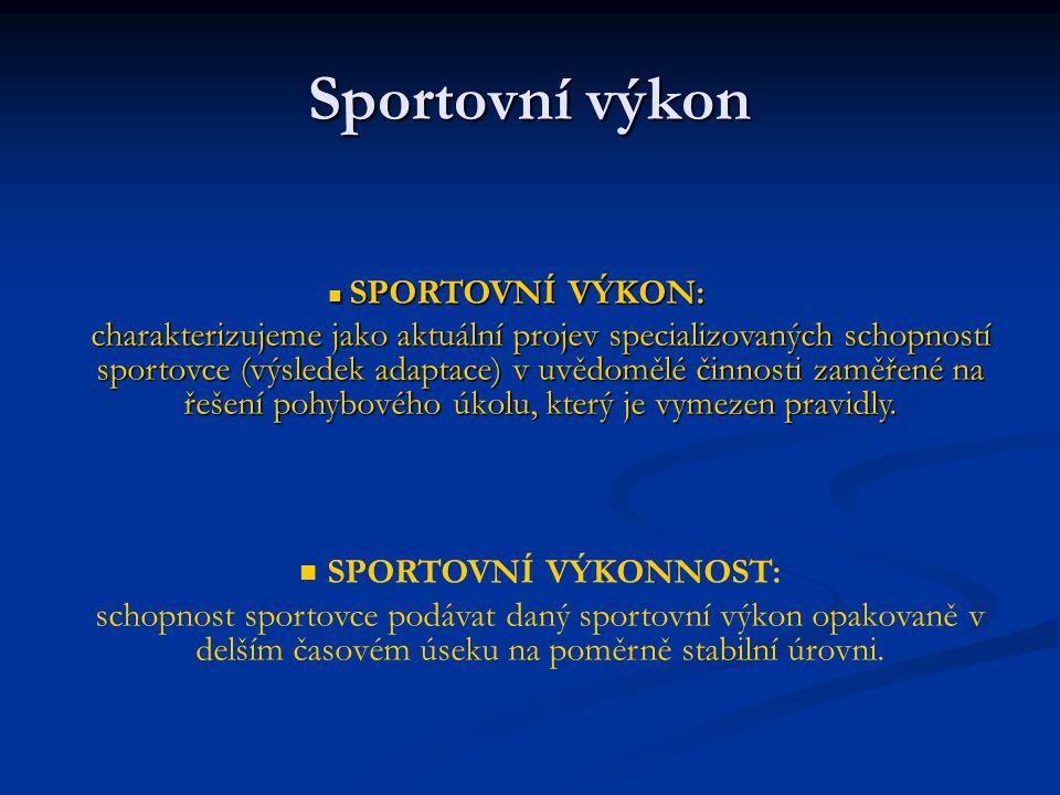 Sportovní výkon SPORTOVNÍ VÝKON: SPORTOVNÍ VÝKON: charakterizujeme jako aktuální projev specializovaných schopností sportovce (výsledek adaptace) v uv