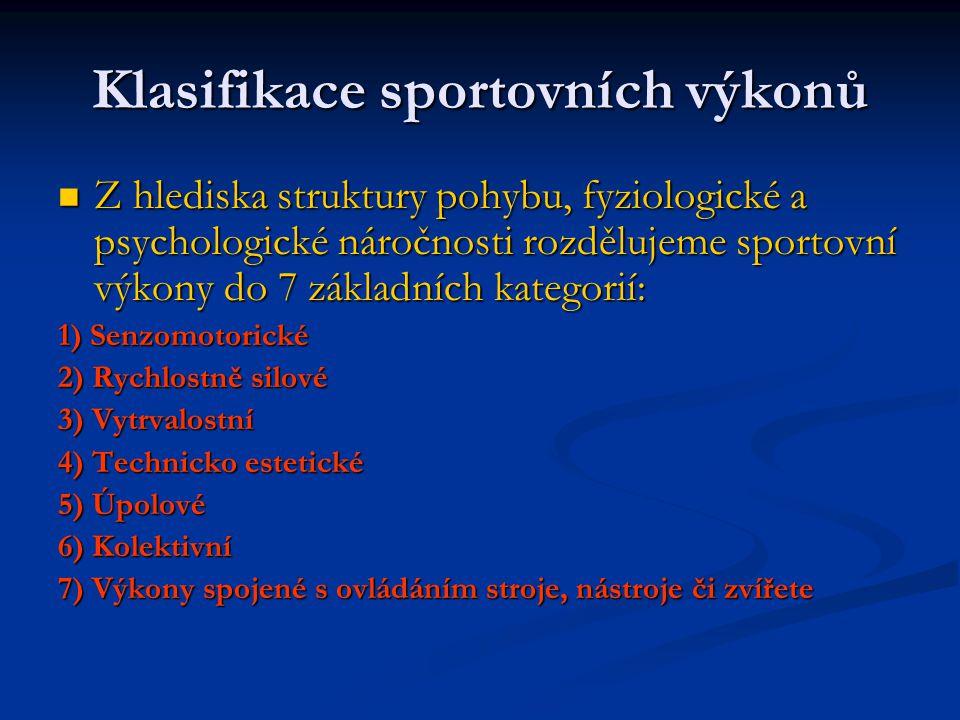Klasifikace sportovních výkonů Z hlediska struktury pohybu, fyziologické a psychologické náročnosti rozdělujeme sportovní výkony do 7 základních kateg