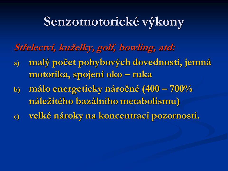 Senzomotorické výkony Střelectví, kuželky, golf, bowling, atd: a) malý počet pohybových dovedností, jemná motorika, spojení oko – ruka b) málo energet