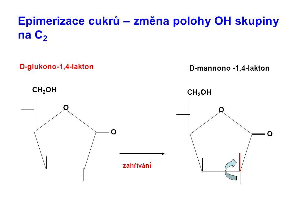 Epimerizace cukrů – změna polohy OH skupiny na C 2 CH 2 OH O O D-glukono-1,4-lakton CH 2 OH O O D-mannono -1,4-lakton zahříván í