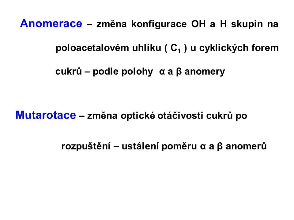 Anomerace – změna konfigurace OH a H skupin na poloacetalovém uhlíku ( C 1 ) u cyklických forem cukrů – podle polohy α a β anomery Mutarotace – změna