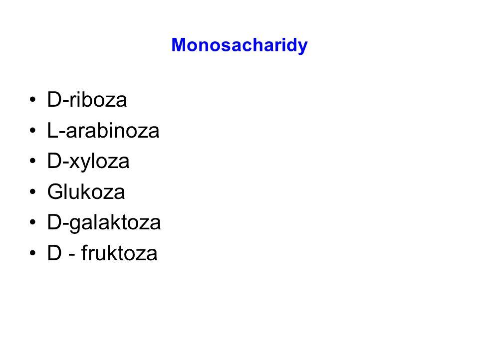 Monosacharidy D-riboza L-arabinoza D-xyloza Glukoza D-galaktoza D - fruktoza
