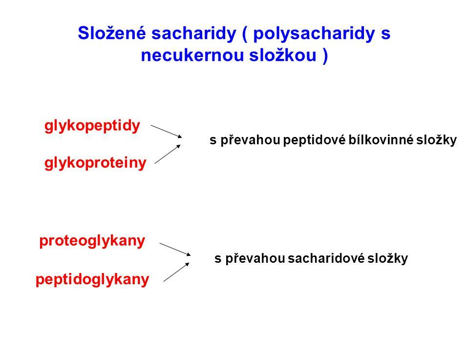 Složené sacharidy ( polysacharidy s necukernou složkou ) glykopeptidy glykoproteiny peptidoglykany proteoglykany s převahou peptidové bílkovinné složk