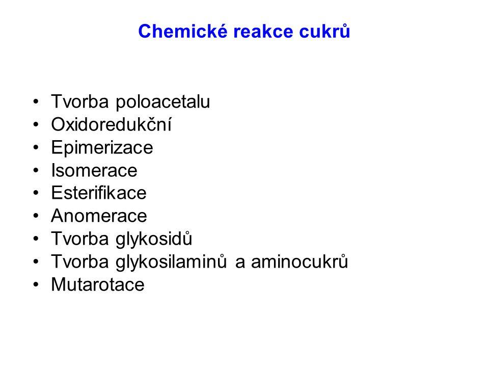 Chemické reakce cukrů Tvorba poloacetalu Oxidoredukční Epimerizace Isomerace Esterifikace Anomerace Tvorba glykosidů Tvorba glykosilaminů a aminocukrů