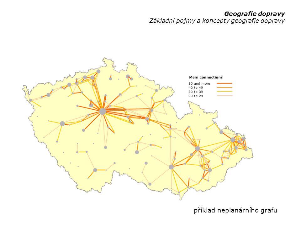 """užitečnost analýz prostorové struktury dopravní sítě k/ke: –srovnání dopravních sítí v různých územích (srovnatelná velikost, lidnatost, …) –srovnání dopravních sítí různých druhů dopravy v tomtéž území –hodnocení vývoje dopravní sítě v čase použitelné ukazatele: –akcesibilita (""""accessibility ) –konektivita (""""connectivity ) –deviatilita (""""circuity ) Geografie dopravy Základní pojmy a koncepty geografie dopravy"""