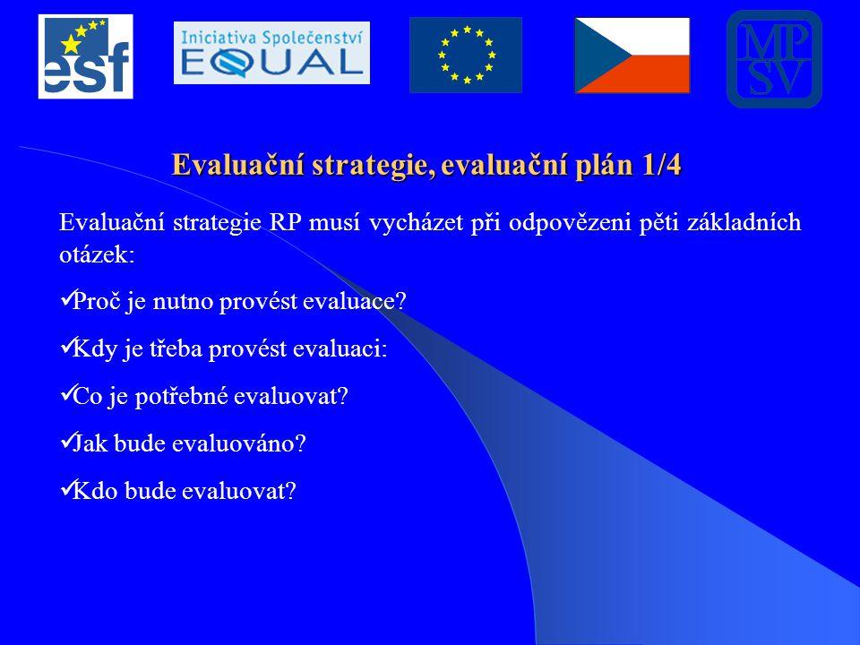 Evaluační strategie, evaluační plán 1/4 Evaluační strategie RP musí vycházet při odpovězeni pěti základních otázek: Proč je nutno provést evaluace.