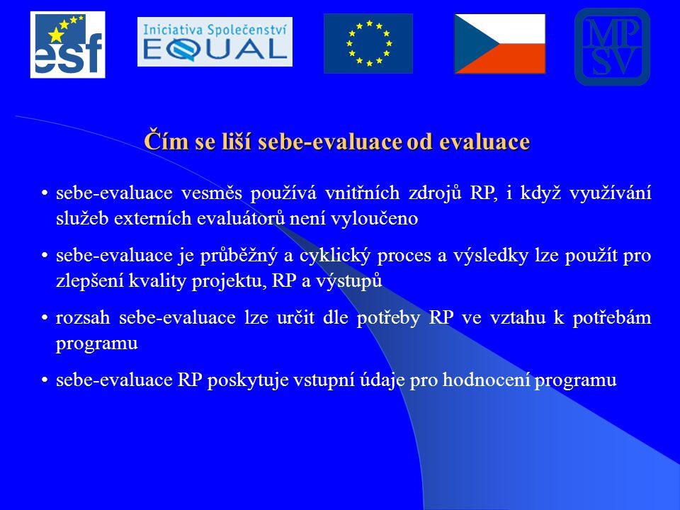 Čím se liší sebe-evaluace od evaluace sebe-evaluace vesměs používá vnitřních zdrojů RP, i když využívání služeb externích evaluátorů není vyloučeno sebe-evaluace je průběžný a cyklický proces a výsledky lze použít pro zlepšení kvality projektu, RP a výstupů rozsah sebe-evaluace lze určit dle potřeby RP ve vztahu k potřebám programu sebe-evaluace RP poskytuje vstupní údaje pro hodnocení programu