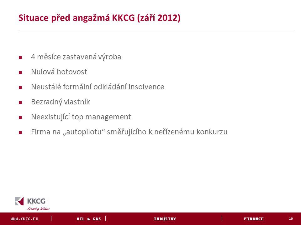 WWW.KKCG.EU OIL & GAS INDUSTRY FINANCE INVESTMENTS Situace před angažmá KKCG (září 2012) 10 4 měsíce zastavená výroba Nulová hotovost Neustálé formáln