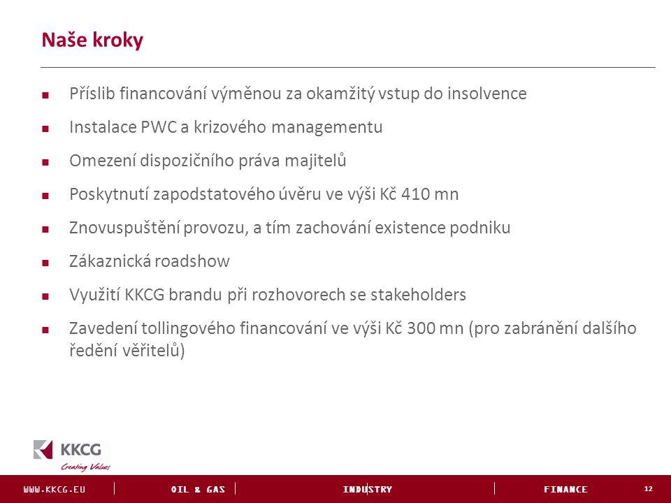 WWW.KKCG.EU OIL & GAS INDUSTRY FINANCE INVESTMENTS Naše kroky 12 Příslib financování výměnou za okamžitý vstup do insolvence Instalace PWC a krizového