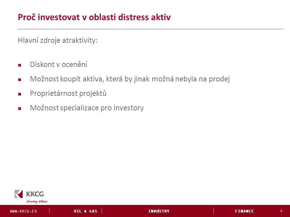 WWW.KKCG.EU OIL & GAS INDUSTRY FINANCE INVESTMENTS Proč investovat v oblasti distress aktiv 3 Hlavní zdroje atraktivity: Diskont v ocenění Možnost kou
