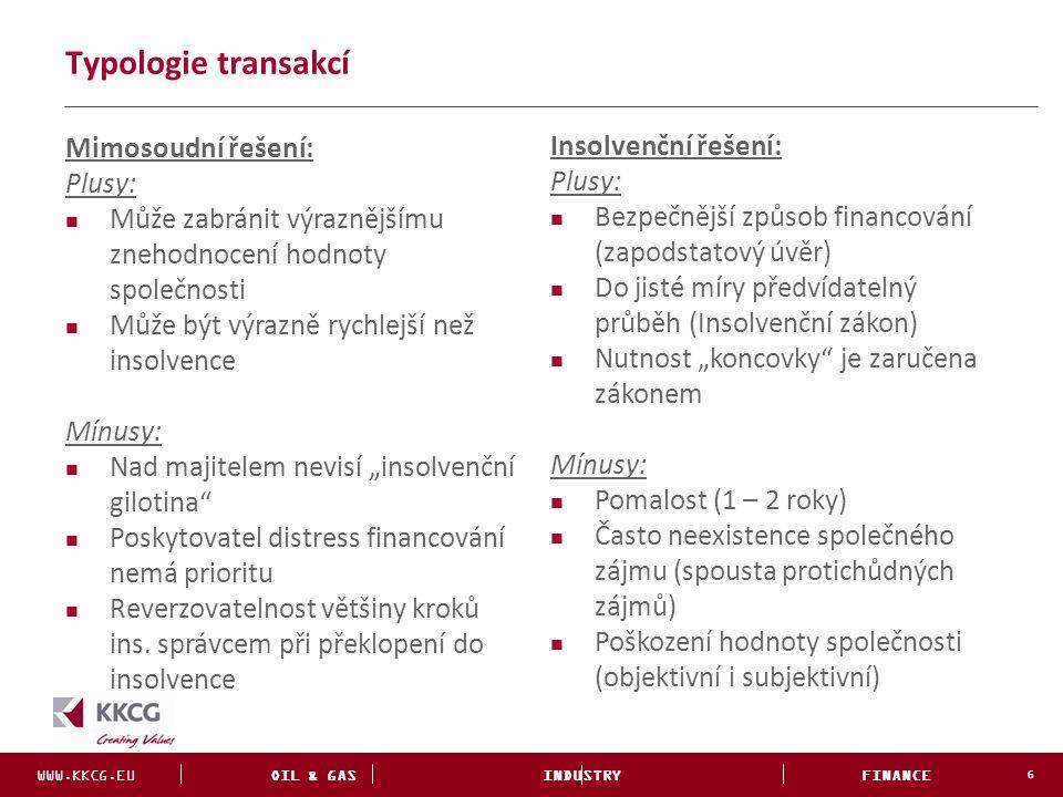 WWW.KKCG.EU OIL & GAS INDUSTRY FINANCE INVESTMENTS Typologie transakcí 6 Mimosoudní řešení: Plusy: Může zabránit výraznějšímu znehodnocení hodnoty spo