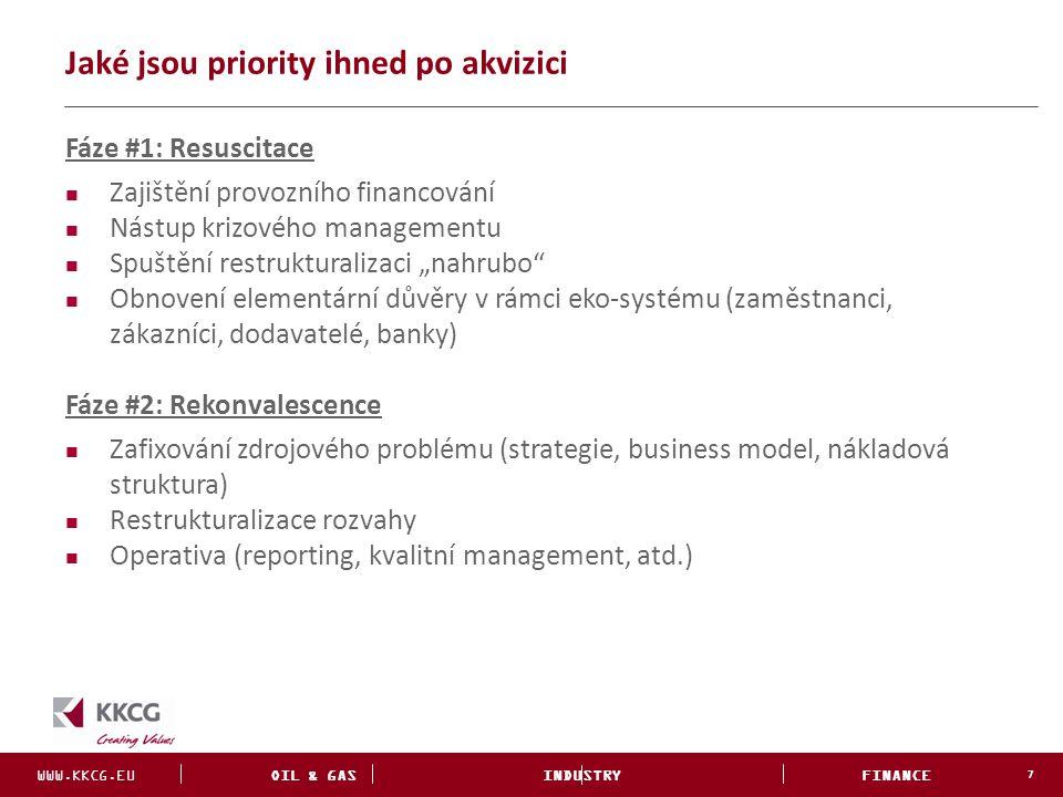WWW.KKCG.EU OIL & GAS INDUSTRY FINANCE INVESTMENTS Jaké jsou priority ihned po akvizici 7 Fáze #1: Resuscitace Zajištění provozního financování Nástup
