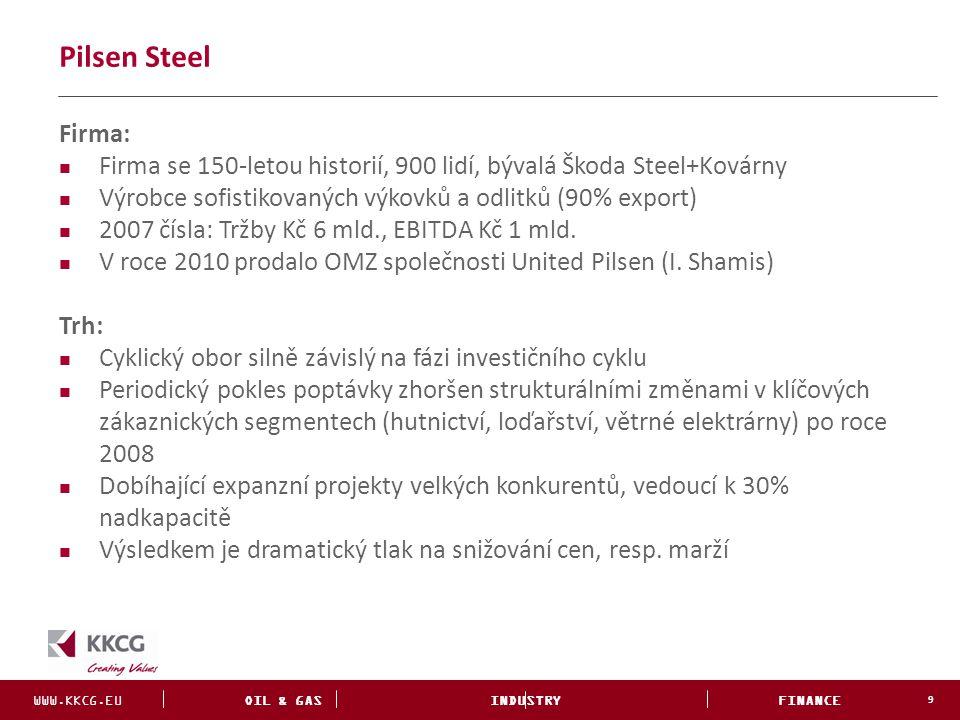 """WWW.KKCG.EU OIL & GAS INDUSTRY FINANCE INVESTMENTS Situace před angažmá KKCG (září 2012) 10 4 měsíce zastavená výroba Nulová hotovost Neustálé formální odkládání insolvence Bezradný vlastník Neexistující top management Firma na """"autopilotu směřujícího k neřízenému konkurzu"""