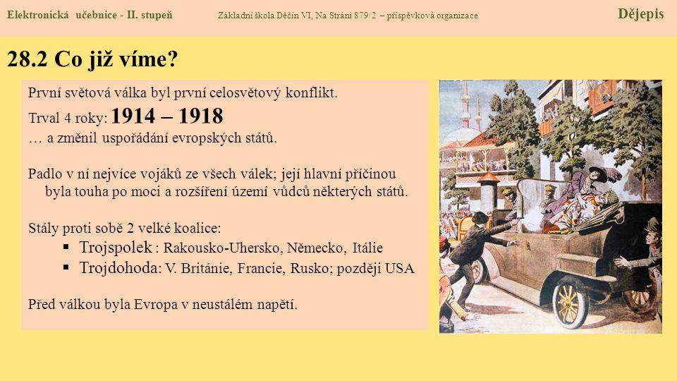 28.2 Co již víme? Elektronická učebnice - II. stupeň Základní škola Děčín VI, Na Stráni 879/2 – příspěvková organizace Dějepis První světová válka byl