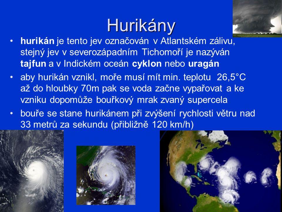 Hurikány každý správný hurikán je cyklický (točí se kolem středu, ten se nazývá oko, které má 20-60m) jméno hurikán v Atlantiku dostane podle hurikánového centra na Floridě každých 6 let se připravuje seznam jmen a střídají se dívčí a chlapecká jména