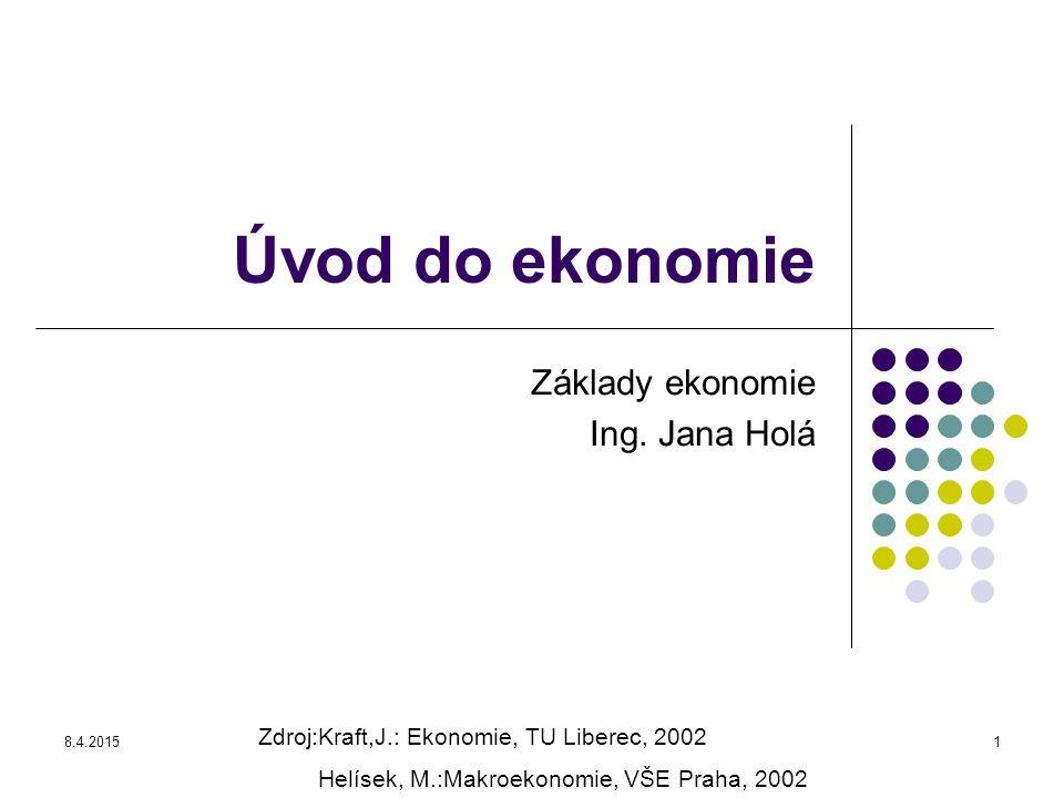 8.4.20151 Úvod do ekonomie Základy ekonomie Ing. Jana Holá Zdroj:Kraft,J.: Ekonomie, TU Liberec, 2002 Helísek, M.:Makroekonomie, VŠE Praha, 2002