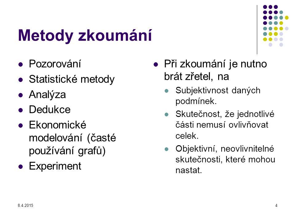8.4.20154 Metody zkoumání Pozorování Statistické metody Analýza Dedukce Ekonomické modelování (časté používání grafů) Experiment Při zkoumání je nutno