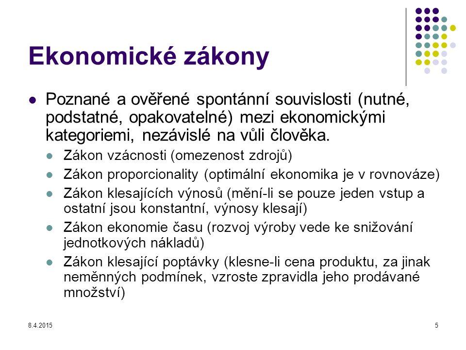 8.4.20155 Ekonomické zákony Poznané a ověřené spontánní souvislosti (nutné, podstatné, opakovatelné) mezi ekonomickými kategoriemi, nezávislé na vůli