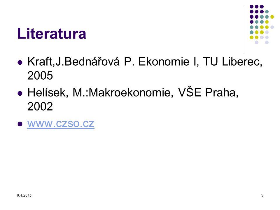 8.4.20159 Literatura Kraft,J.Bednářová P. Ekonomie I, TU Liberec, 2005 Helísek, M.:Makroekonomie, VŠE Praha, 2002 www.czso.cz