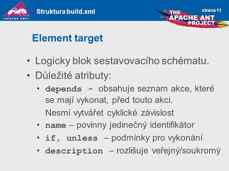 strana 11 Element target Logicky blok sestavovacího schématu. Důležité atributy: depends - obsahuje seznam akce, které se mají vykonat, před touto akc