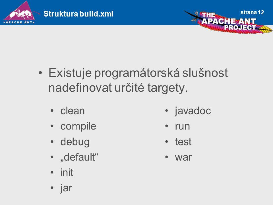"strana 12 Existuje programátorská slušnost nadefinovat určité targety. Struktura build.xml clean compile debug ""default"" init jar javadoc run test war"