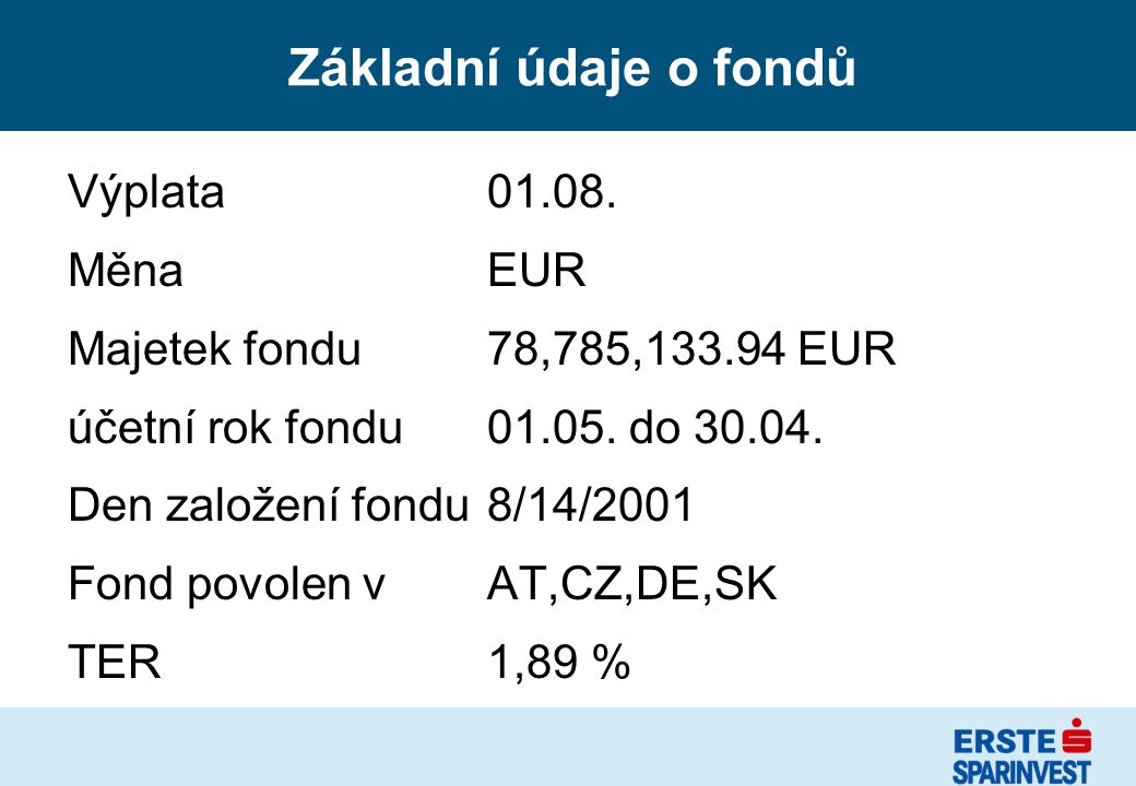 Základní údaje o fondů Výplata01.08. MěnaEUR Majetek fondu78,785,133.94 EUR účetní rok fondu01.05. do 30.04. Den založení fondu8/14/2001 Fond povolen