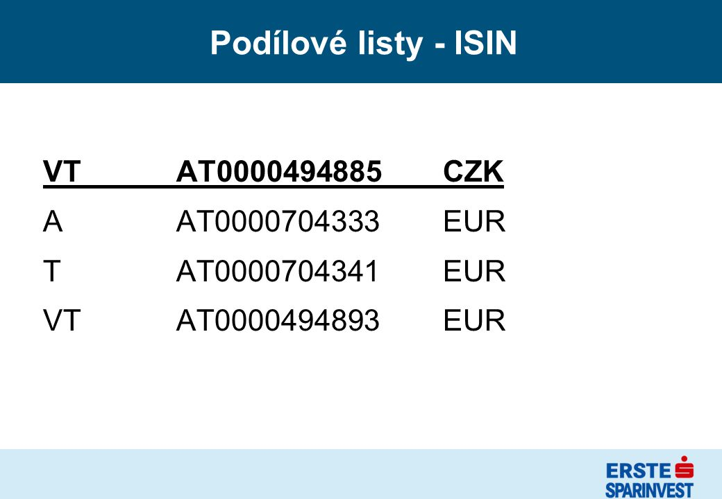 Podílové listy - ISIN VTAT0000494885 CZK AAT0000704333EUR TAT0000704341 EUR VTAT0000494893 EUR