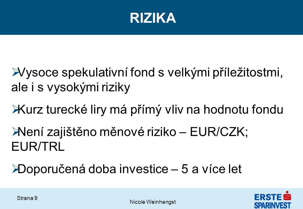 Nicole Weinhengst Strana 9 RIZIKA  Vysoce spekulativní fond s velkými příležitostmi, ale i s vysokými riziky  Kurz turecké liry má přímý vliv na hod