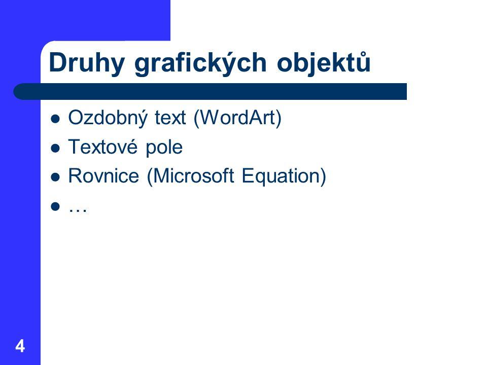 Druhy grafických objektů Ozdobný text (WordArt) Textové pole Rovnice (Microsoft Equation) … 4